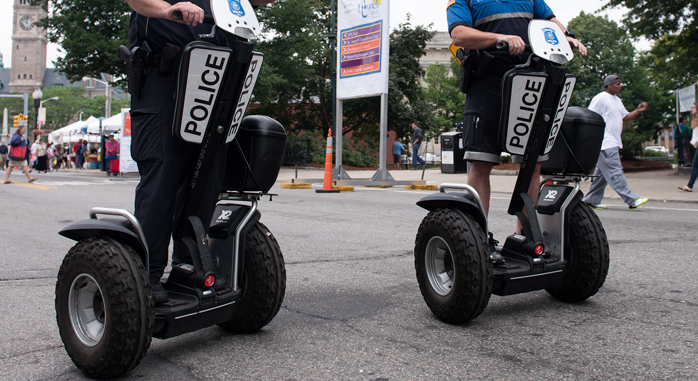close up of Segway Police Patrollers during a main eve