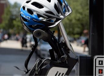 Close up of helmet on Segway PT patroller