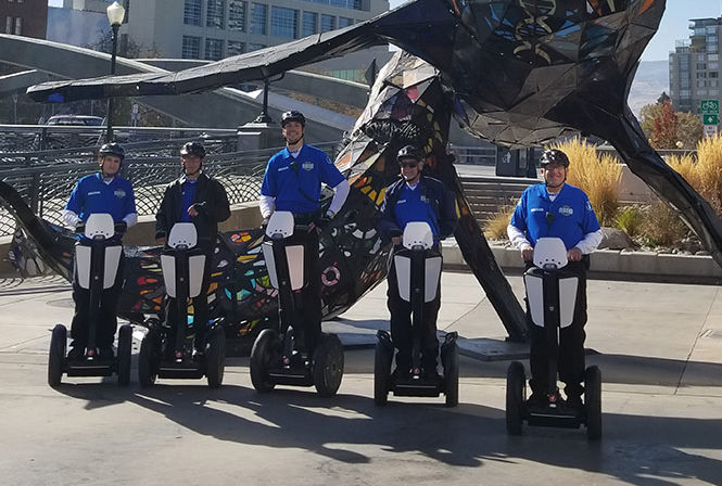 5 private security guards on Segway i2 SE PT patrollers