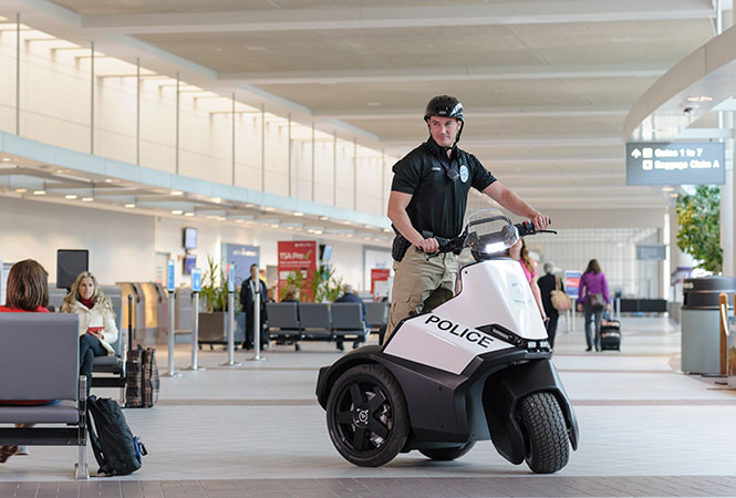 Airport Security person using S3 Patroller to patrol